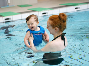 Mother and child in the swimming pool